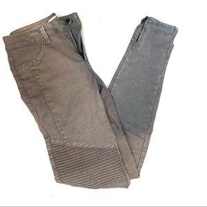 Zara Moto Straight Leg Gray Jeans Zipper Hem
